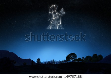 Zodiac Sign Virgo with a star and symbol outline on a gradient sky background .Part of a Zodiac series. - stock photo