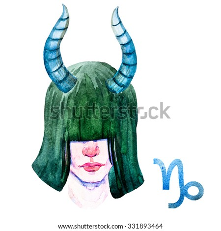 zodiac sign, watercolor illustration of woman,Capricorn - stock photo