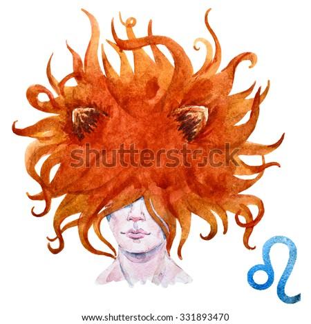 zodiac sign, watercolor illustration of woman,Leo - stock photo