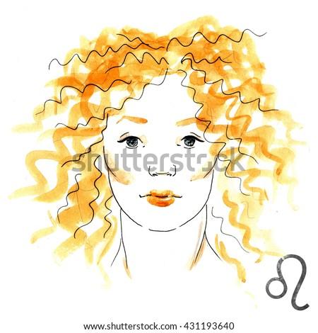 zodiac sign, watercolor illustration of woman,Leo, bright fashion illustration - stock photo