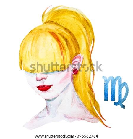 zodiac sign, watercolor illustration of woman,Virgo - stock photo