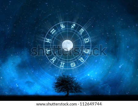 Zodiac Signs Horoscope with the tree of life and universe - stock photo