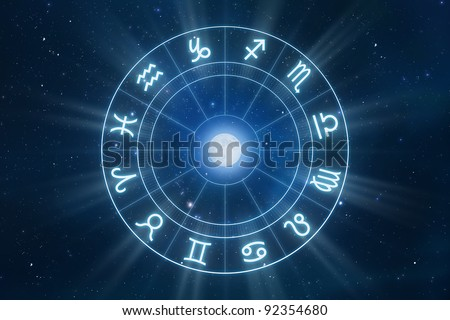 Zodiac Signs Horoscope with universe as background - stock photo