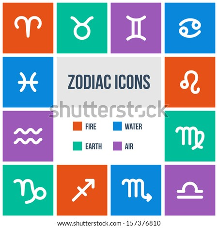 Zodiac signs in flat style. Set of colorful square icons. Raster version. - stock photo