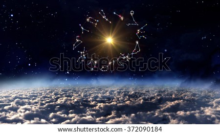 Zodiac Signs , solar and twelve horoscopes with universe space and stars - Elements of this Image Furnished by NASA - stock photo