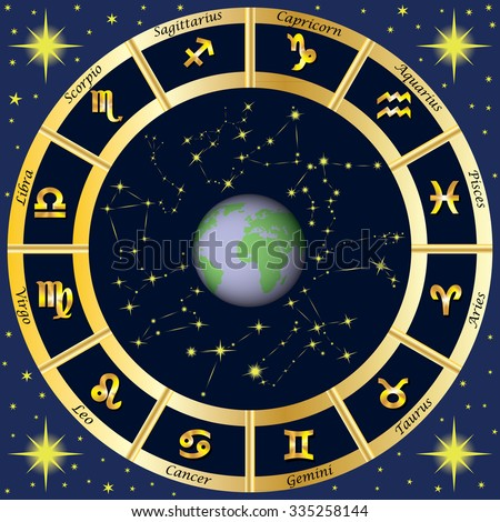 Zodiac Signs, Zodiac constellations.  - stock photo