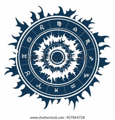 Zodiac symbols inside star shape. Raster illustration. - stock photo
