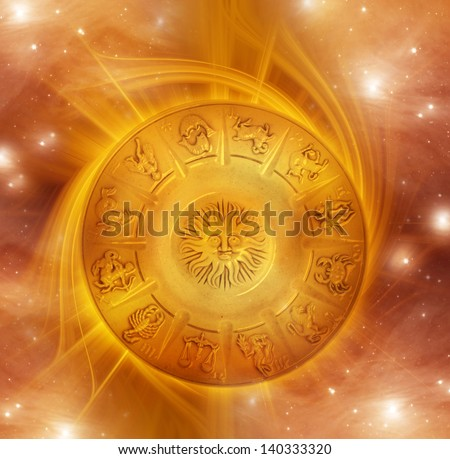 zodiac with gold whirl and stars - stock photo