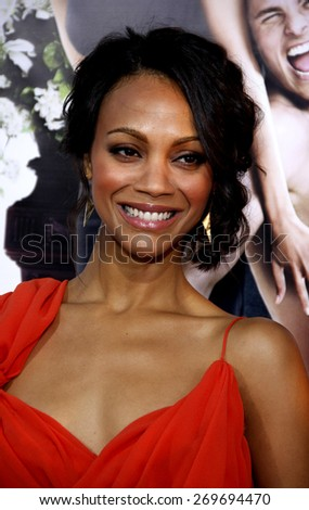 Zoe Saldana at the Los Angeles premiere of 'Death At A Funeral' held at the ArcLight Cinerama Dome in Hollywood on April 12, 2010.