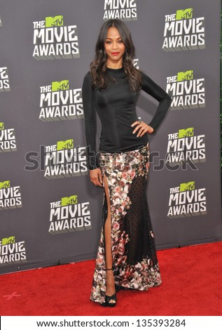 Zoe Saldana at the 2013 MTV Movie Awards at Sony Studios, Culver City. April 14, 2013  Los Angeles, CA Picture: Paul Smith - stock photo