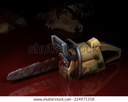 Zombie - Bloody Chainsaw.  A Chainsaw sitting in a pool of blood that was used to combat a group of zombies. Body laying nearby. Happy Halloween. - stock photo