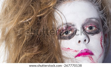 zombie cheerleader girl in all her blood and gore - stock photo