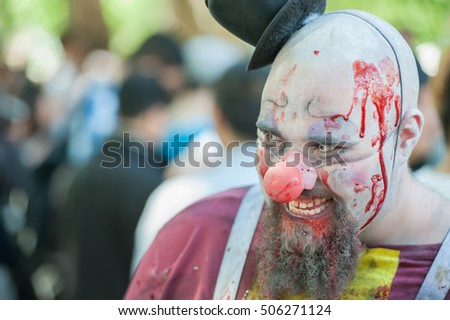 Zombie clown at Sydney Zombie Walk in Sydney, AU, 29th October, 2016. Zombie Walk is an annual event where thousands of people get involved to raise awareness for Australia's Brain Foundation.