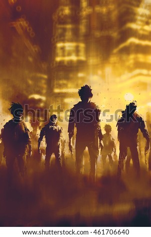 zombie crowd walking in city at night,halloween concept,illustration painting