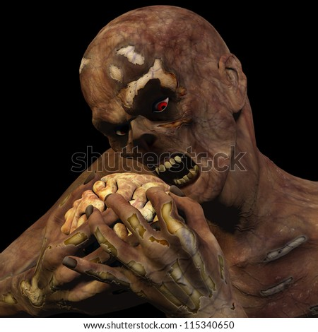 Zombie Eating Brain: An undead Zombie with red eyes eating a brain. Isolated on a black background. - stock photo