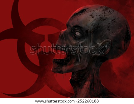 Zombie face closeup. Fantasy dead zombie face staring at the chemical danger sign on red background illustration art. - stock photo