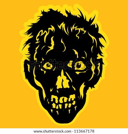Zombie Face in orange / yellow background - stock photo