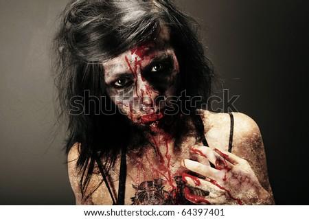 Zombie girl - stock photo