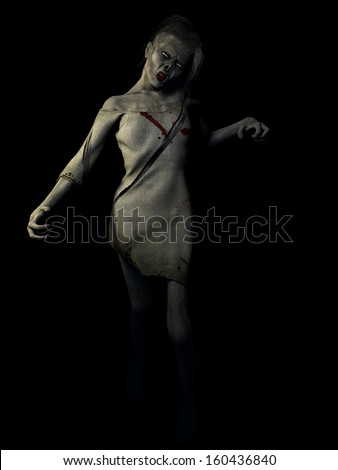 Zombie Girl - A female zombie emerges from the darkness. Isolated on black.