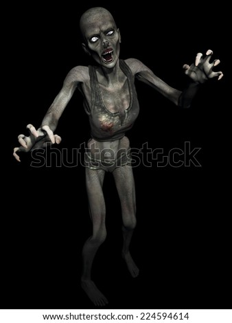 Zombie Girl - A female zombie thinks you are food. Isolated on black. - stock photo