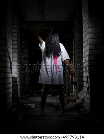 Zombie girl in old house