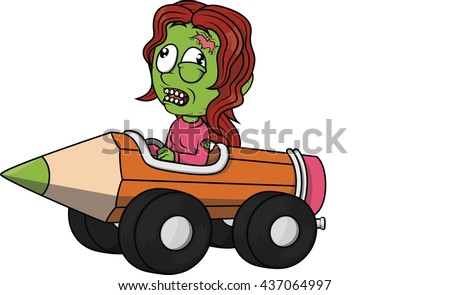 Zombie girl playing pencil car