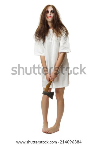 Zombie girl with axe isolated on white - stock photo