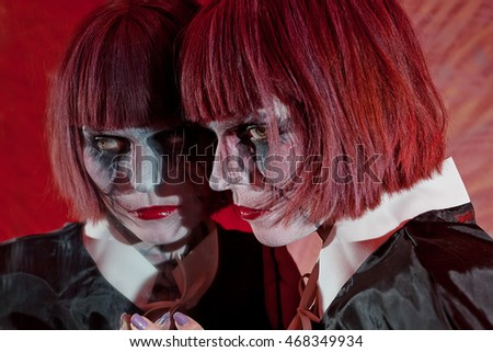 Stock images similar to id 76393900 horror scene of a for Mirror zombie girl