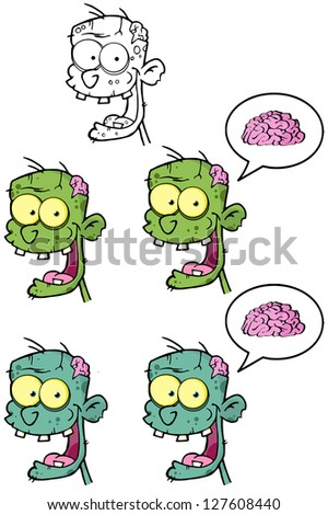 Zombie Head Cartoon Mascot Characters-Collection. Raster Illustration.Vector Version Also Available In Portfolio. - stock photo
