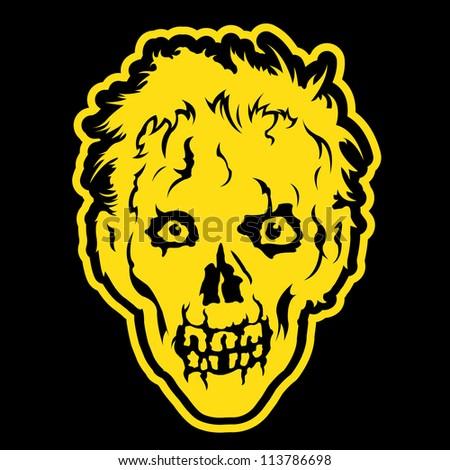 Zombie head in black background - stock photo