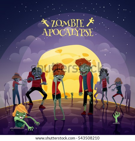 Zombie moonlight apocalypse cartoon background with moon sky and stars  illustration