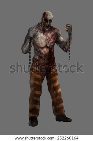 Zombie prisoner. Fantasy dead mutilated zombie prisoner standing with chains and pants illustration.
