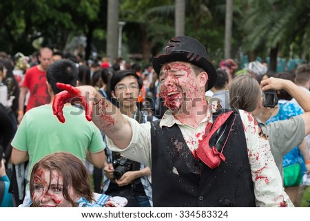Zombie's at Sydney Zombie Walk in Sydney, AU, 31st October, 2015. The Sydney Zombie Walk is an annual event where thousands of people get involved to raise awareness for Australia's Brain Foundation. - stock photo