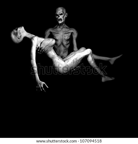 Zombie's in Love: Male zombie grief stricken holding his fallen female in his arms.  Monochrome. - stock photo