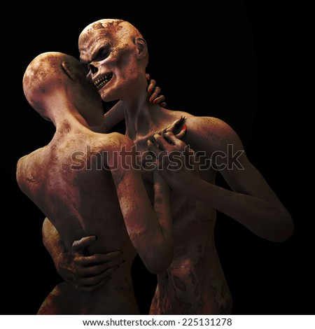 Zombie's in Love: Zombies dancing cheek to cheek in warm lighting. Isolated on black. - stock photo