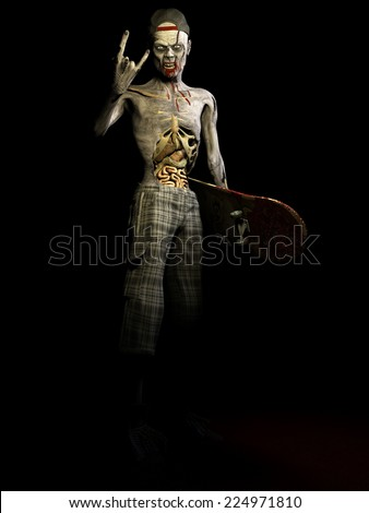Zombie - Skateboarder.  A zombie with his ribs and entrails showing holding his skateboard and making the devil horns sign with his hand. Happy Halloween. - stock photo