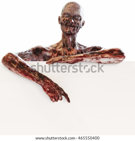 Zombie undead leaning and pointing at a large blank advertisement sign card on a isolated white background with room for text or copy space event advertisement. 3d rendering