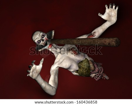 Zombie - Why Won't You Die!  Half of an Undead Zombie laying in a pool of blood with a shovel impaled through his head reaching up and out for you. Isolated on a black background. - stock photo
