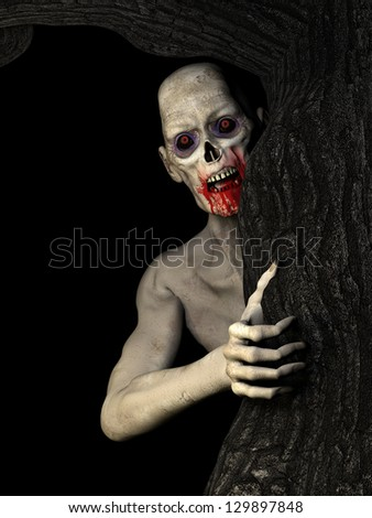 Zombies: an undead zombie behind a tree glaring at you. Isolated on a black background. - stock photo