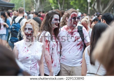 Zombies at Sydney Zombie Walk in Sydney, AU, 1st November, 2014. The Sydney Zombie Walk is an annual event where thousands of people get involved to raise awareness for Australias Brain Foundation.