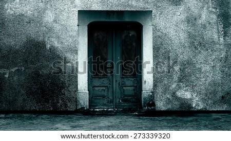 Zombies behind door in quarantine - stock photo
