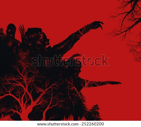 Zombies illustration. Fantasy dead zombies attack on red background illustration art. - stock photo