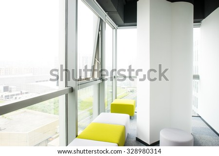 Zone for rest and work. It is a lot of armchairs of different color - stock photo