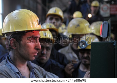 ZONGULDAK- JUNE  23 : Unidentified  mine workers  in Turkey on June 23, 2010 in Zonguldak,Turkey.