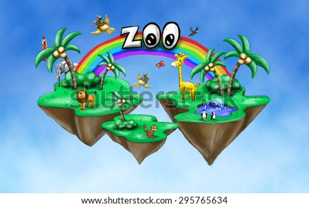 Zoo illustration with wild animals on a rock