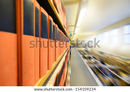 Zoom blurred picture of public library - stock photo