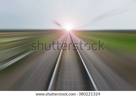 Zoom burr railroad for background high speed motion. - stock photo