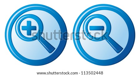 zoom icons (magnifier button, search icon, zoom icons set) - stock photo