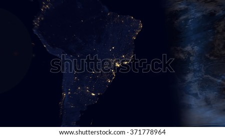Zoom into Brazil - South America Map Composition (Elements of this image furnished by NASA) - stock photo