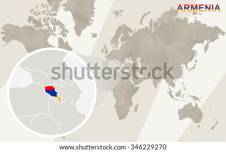 Zoom on Armenia Map and Flag. World Map. Rasterized Copy. - stock photo